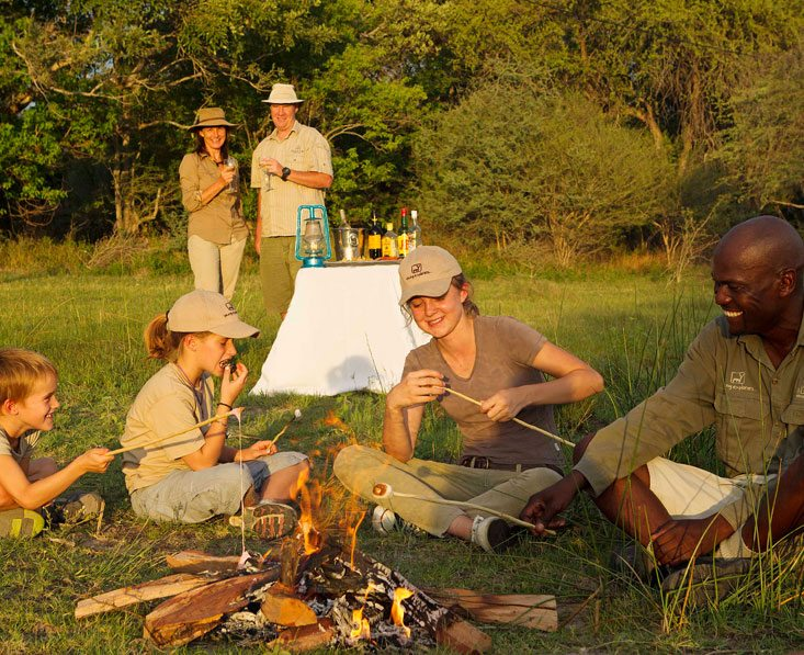 toasting marshmallows on family safari