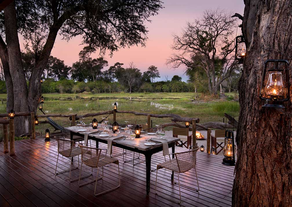Outdoor dining at Khwai Tented Camp