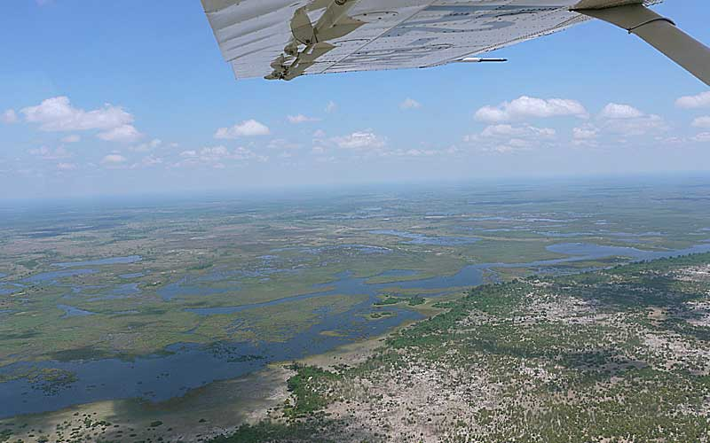 flying over botswana