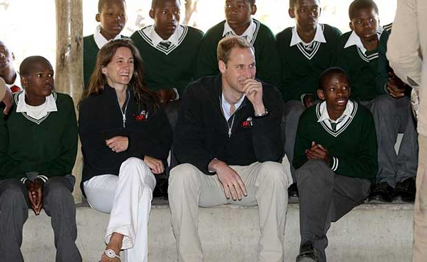 The Duke of Cambridge with Sarah Watson, Tusk's Director of Programme, visiting Mokolodi Education Centre in 2010