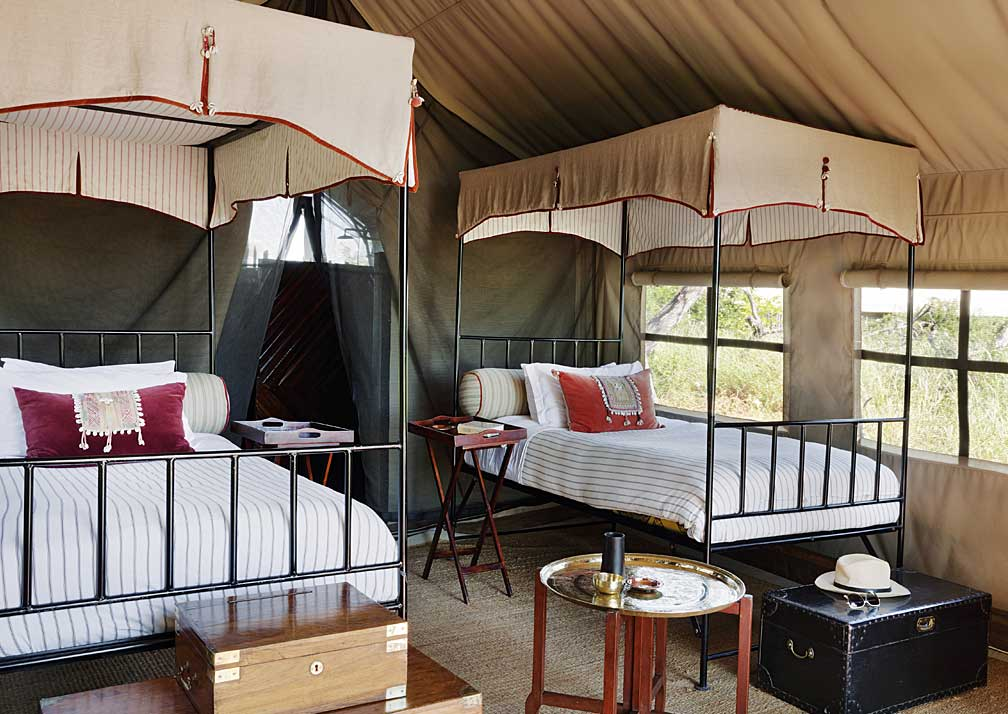 Camp Kalahari twin bedroom