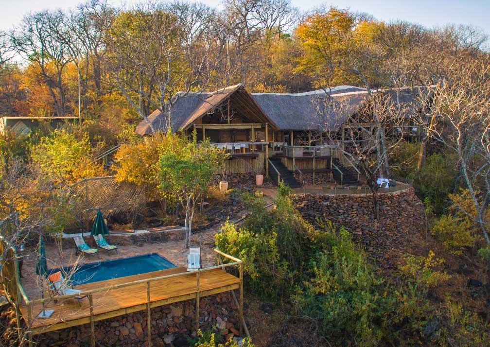 Ghoha Hills Savuti Lodge aerial external view with pool