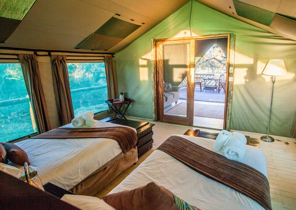 Pom Pom Camp twin bedroom and veranda