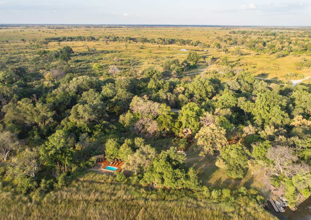 Camp Moremi whole camp aerial