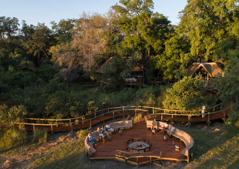 Camp Moremi fireside aerial view