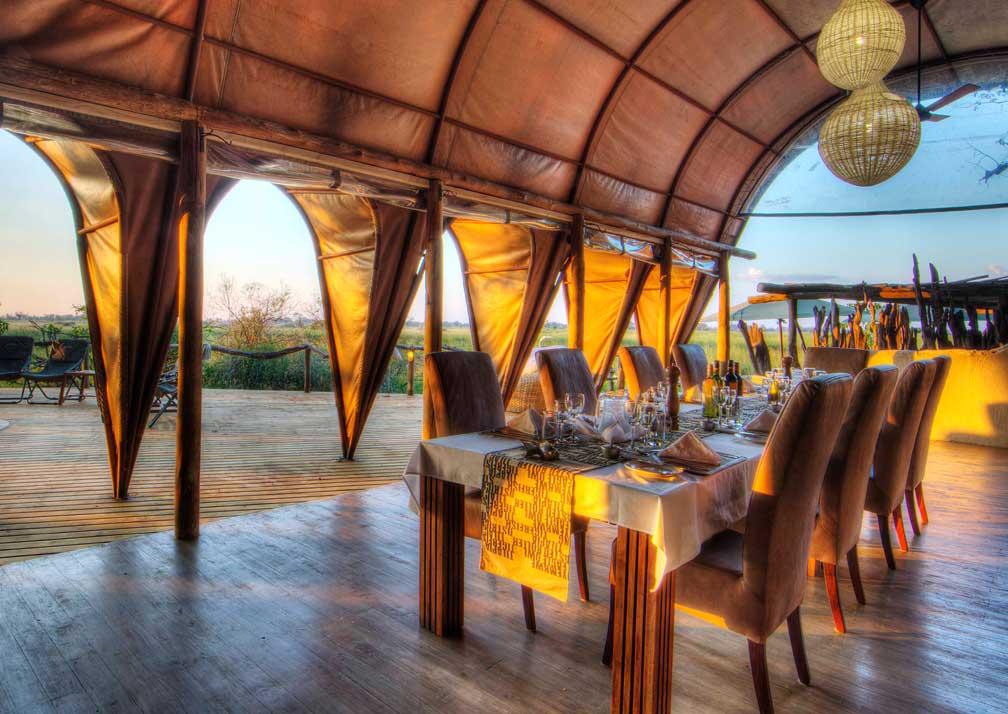 Camp Okuti sheltered dining area