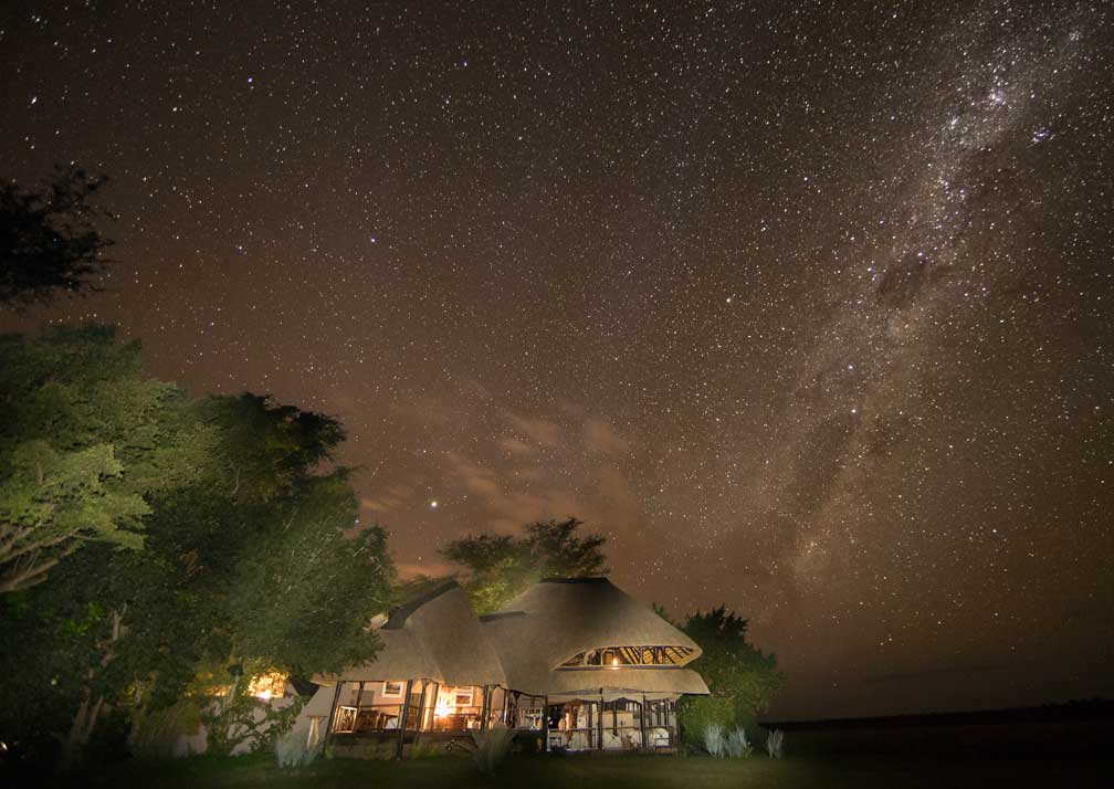 Chobe Savanna Lodge exterior at night