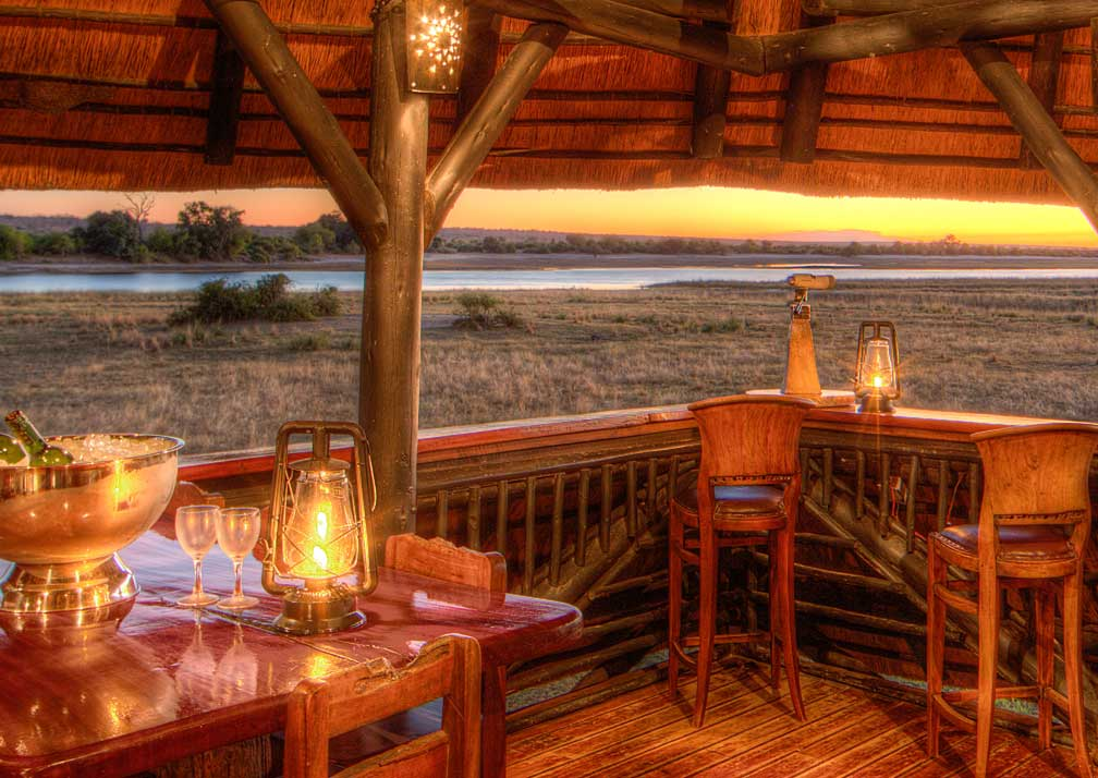 Chobe Savanna Lodge sheltered seating sunset