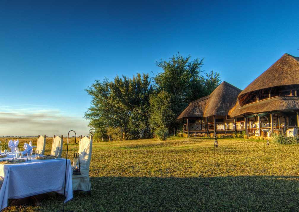 Chobe Savanna Lodge outdoor dining and exterior