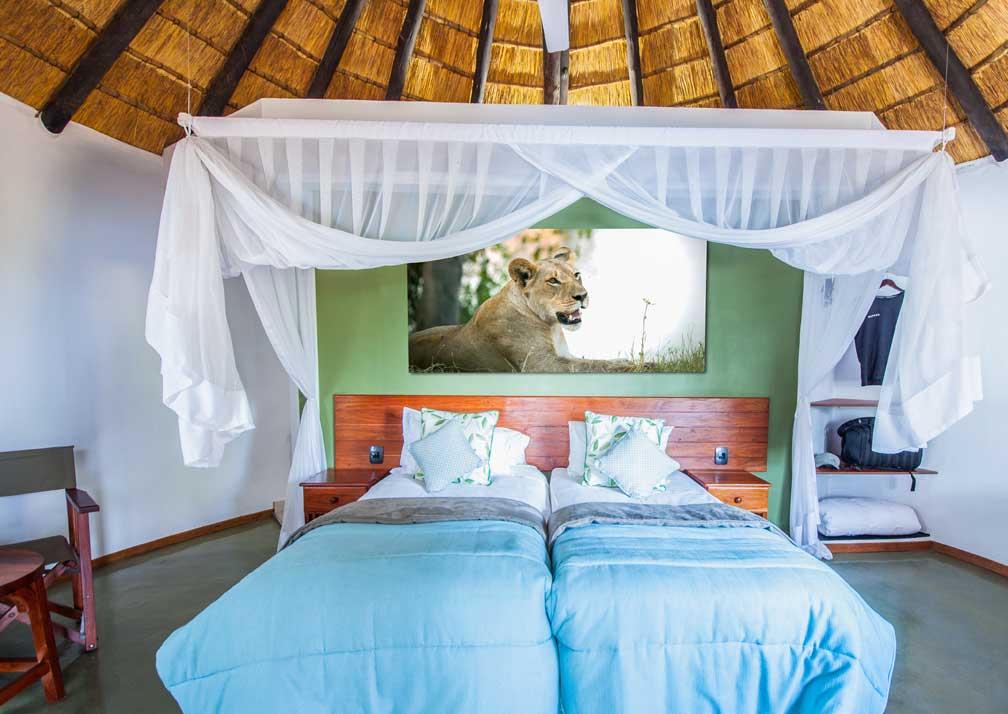 Chobe Safari Lodge rondavel beds
