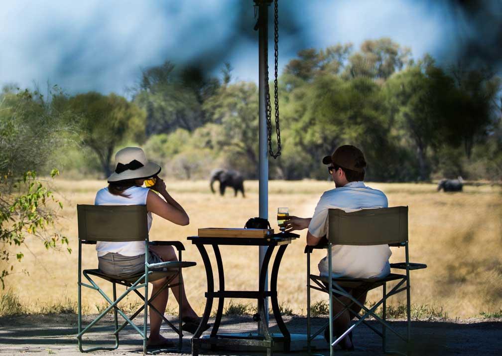 Machaba Camp seating with elephants