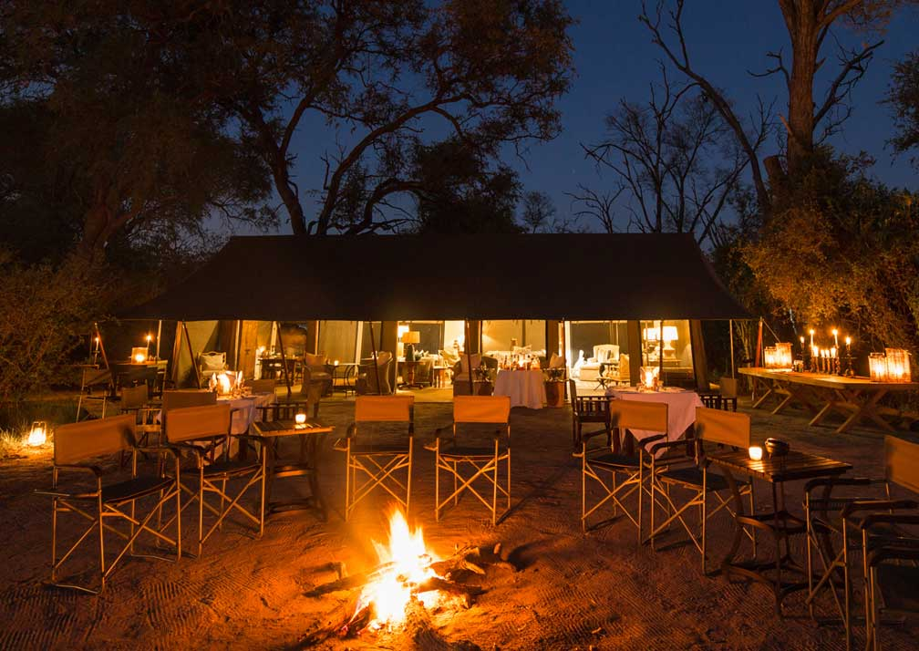 Machaba Camp fireside at night