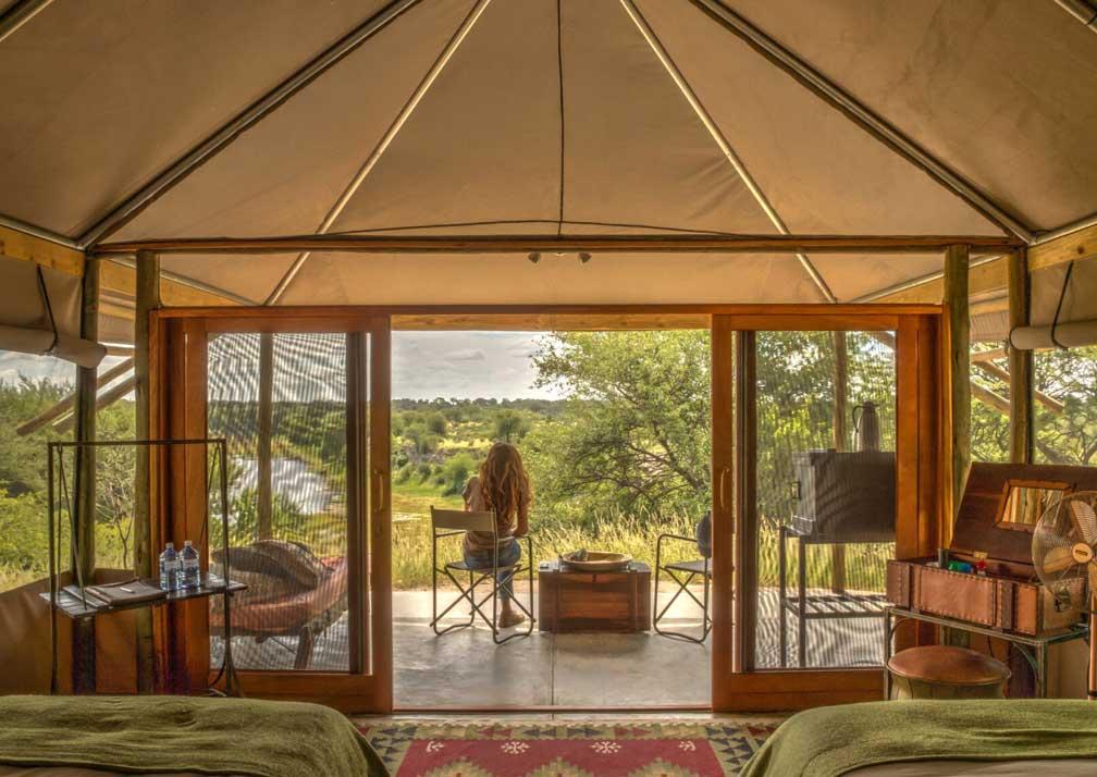 Meno a Kwena tent interior and veranda