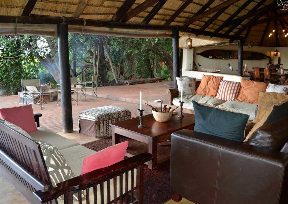 Nxamaseri Island Lodge outside seating