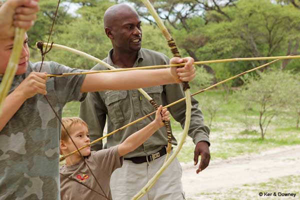 Children with Botswana guide