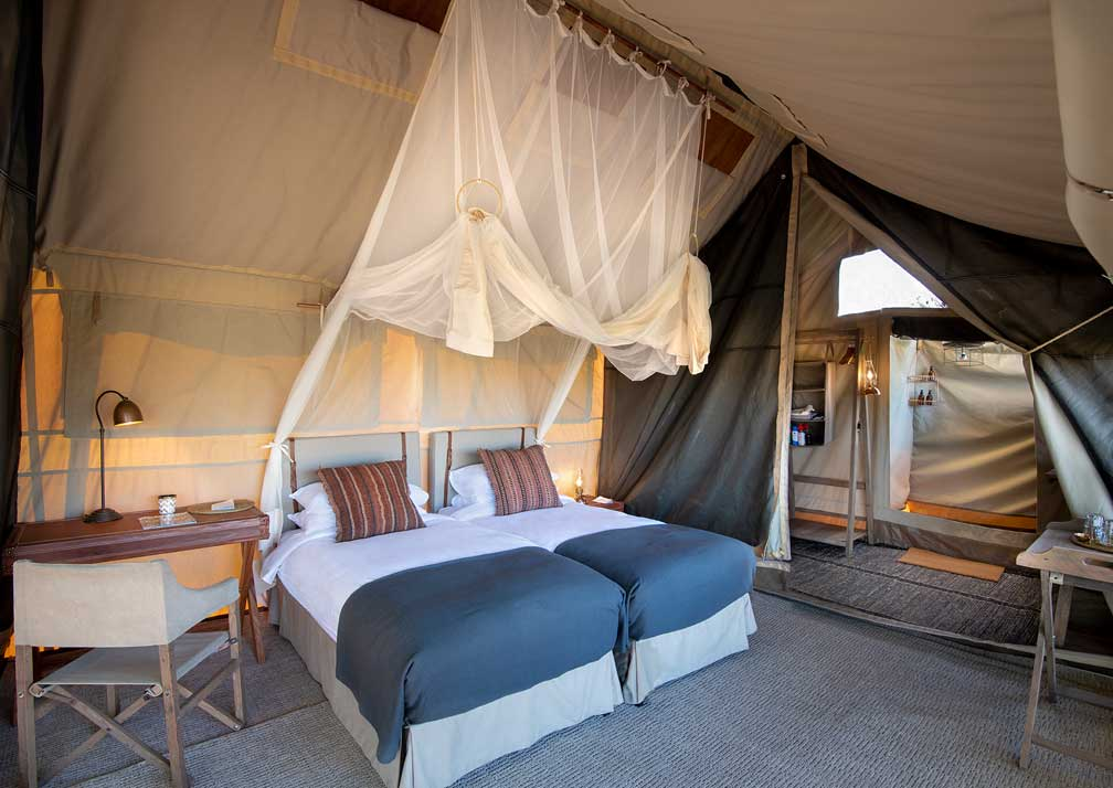 Linyanti Expeditions tented bedroom